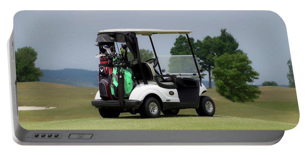 Tully New York Portable Battery Charger featuring the photograph Golfing Golf Cart 04 by Thomas Woolworth