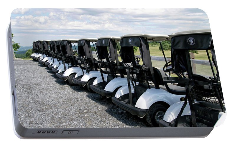 Tully New York Portable Battery Charger featuring the photograph Golfing Golf Carts by Thomas Woolworth
