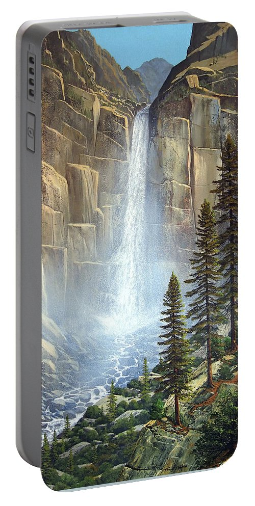 Great Falls Portable Battery Charger featuring the painting Great Falls by Frank Wilson