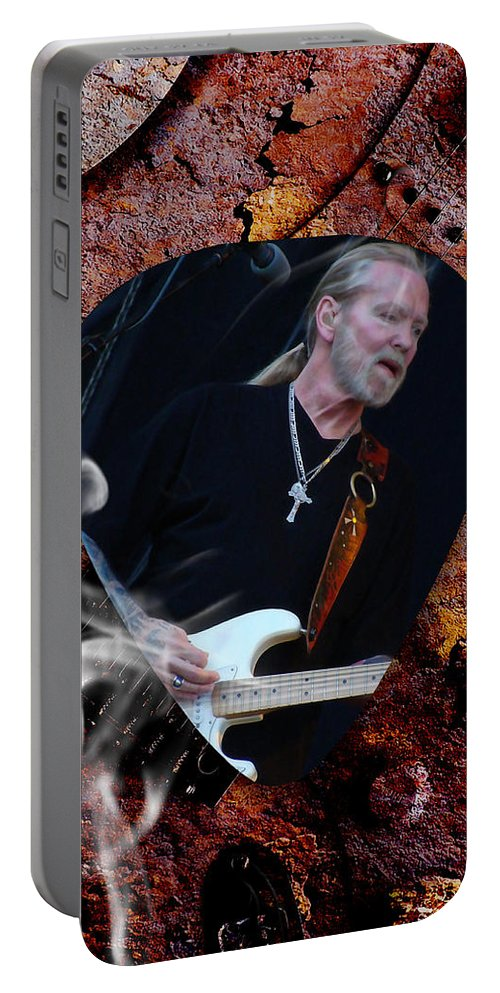 The Allman Brothers Portable Battery Charger featuring the mixed media Gregg Allman Art by Marvin Blaine