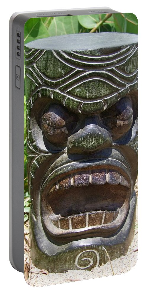 Mary Deal Portable Battery Charger featuring the photograph Hawaiian Tiki God Ku by Mary Deal