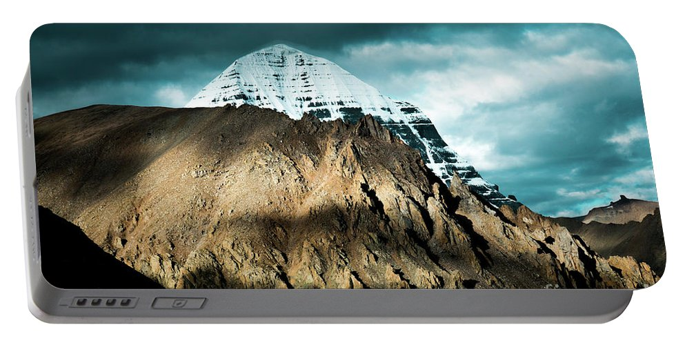 Tibet Portable Battery Charger featuring the photograph Holy Kailas East Slop Himalayas Tibet Yantra.lv by Raimond Klavins
