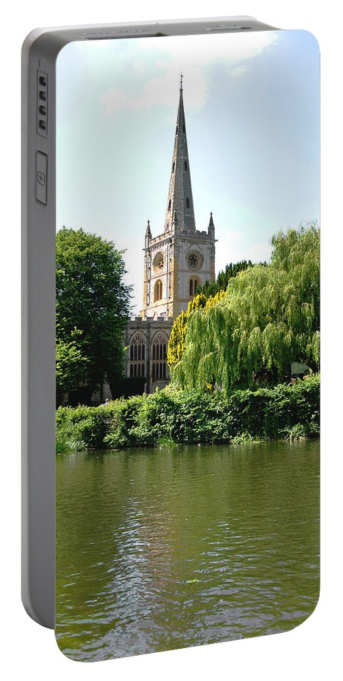 Blue Portable Battery Charger featuring the photograph Holy Trinity Church At Stratford-upon-avon by Rod Johnson