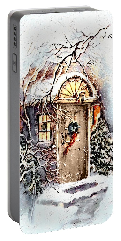 Home Portable Battery Charger featuring the digital art Home For Christmas by Pennie McCracken