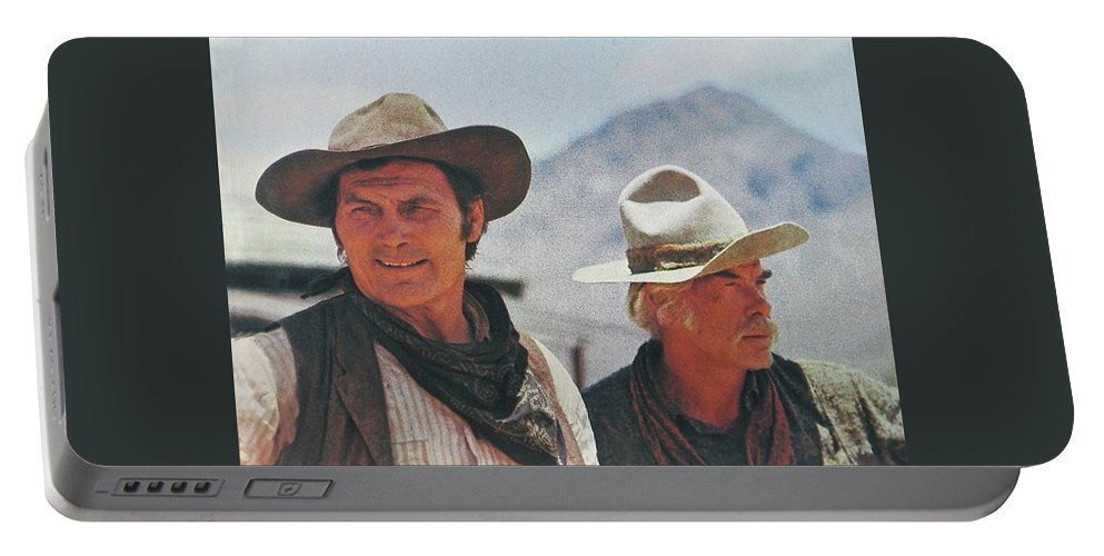 Jack Palance And Lee Marvin Monte Walsh Set Old Tucson Arizona 1969 Portable Battery Charger featuring the photograph Jack Palance And Lee Marvin Monte Walsh Set Old Tucson Arizona 1969 by David Lee Guss