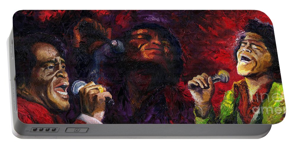 Jazz Portable Battery Charger featuring the painting Jazz James Brown by Yuriy Shevchuk