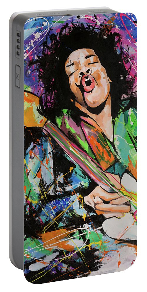 Jimi Portable Battery Charger featuring the painting Jimi Hendrix by Richard Day