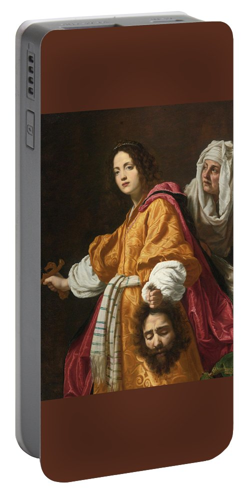 Cristofano Allori (italian Portable Battery Charger featuring the painting Judith Holding The Head Of Holofernes by MotionAge Designs