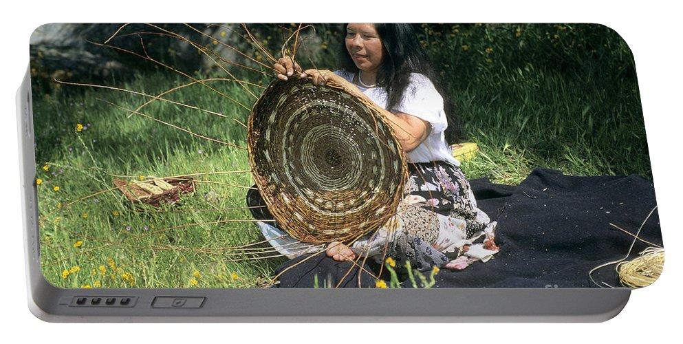 Kashia Portable Battery Charger featuring the photograph Kashia Pomo Woman Weaving by Inga Spence