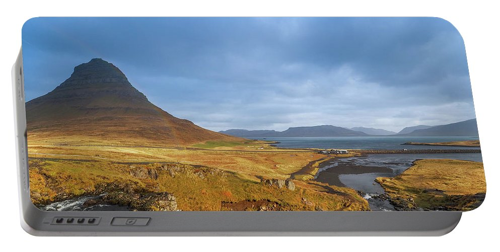 Portable Battery Charger featuring the photograph Kirkjufell. by Angela Aird