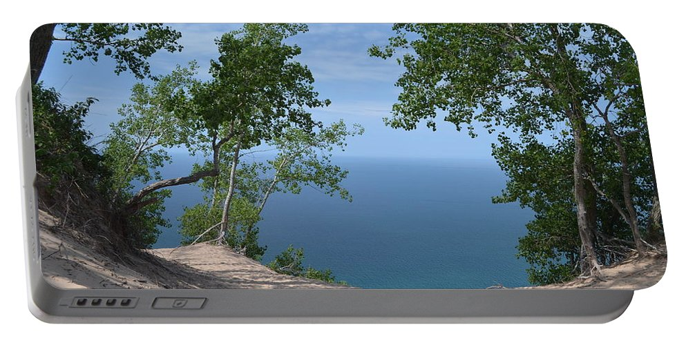 Landscape Portable Battery Charger featuring the photograph Lake Michigan by Burley Strader