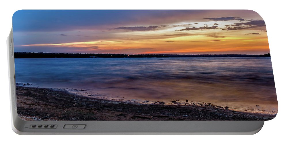 Horizontal Portable Battery Charger featuring the photograph Lake Sunset by Doug Long