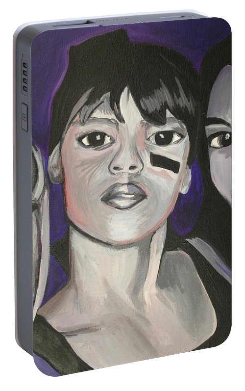 Lisa Lopez Portable Battery Charger featuring the painting Left Eye by Kate Fortin