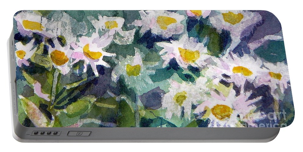Flowers Portable Battery Charger featuring the painting Little Asters by Jan Bennicoff