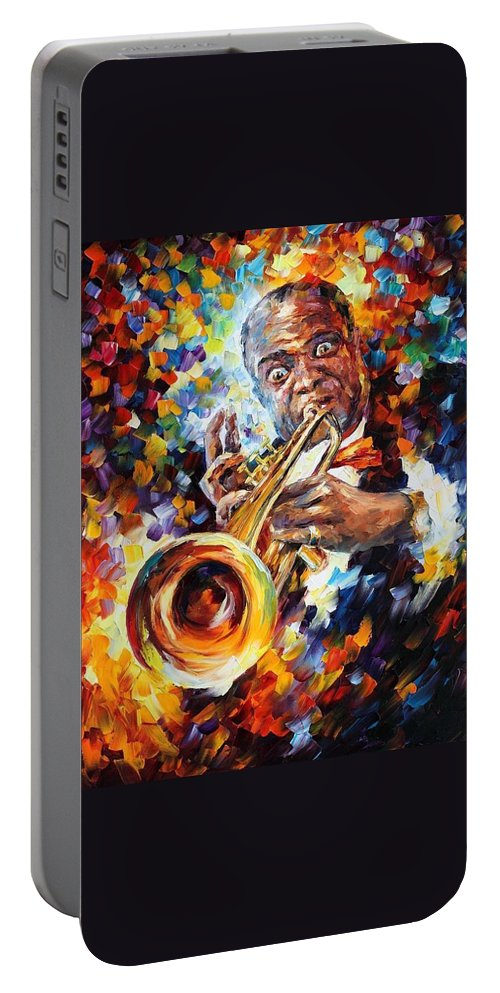 Afremov Portable Battery Charger featuring the painting Louis Armstrong . by Leonid Afremov