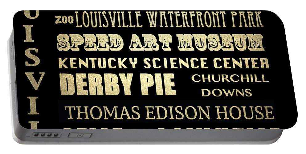 Louisville Portable Battery Charger featuring the digital art Louisville Famous Landmarks by Patricia Lintner