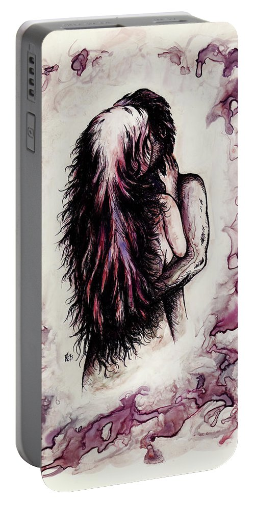 Figure Portable Battery Charger featuring the drawing Lovers by Rachel Christine Nowicki