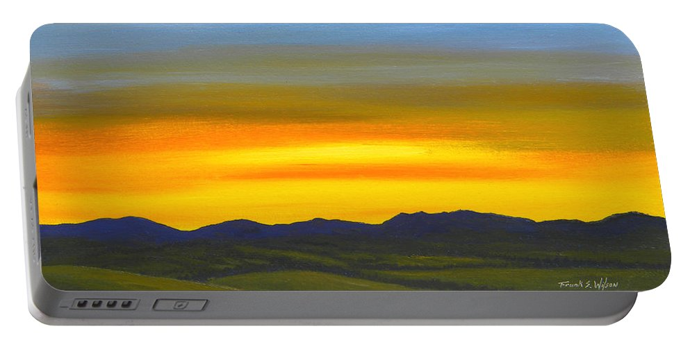 Sunrise Portable Battery Charger featuring the painting Luminescent Sunrise by Frank Wilson