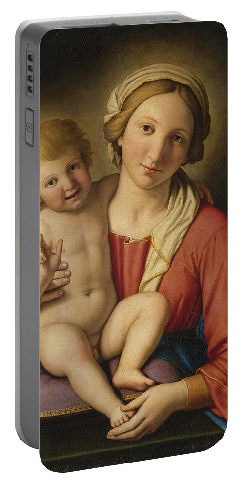 Sassoferrato Portable Battery Charger featuring the painting Madonna And Child by Sassoferrato