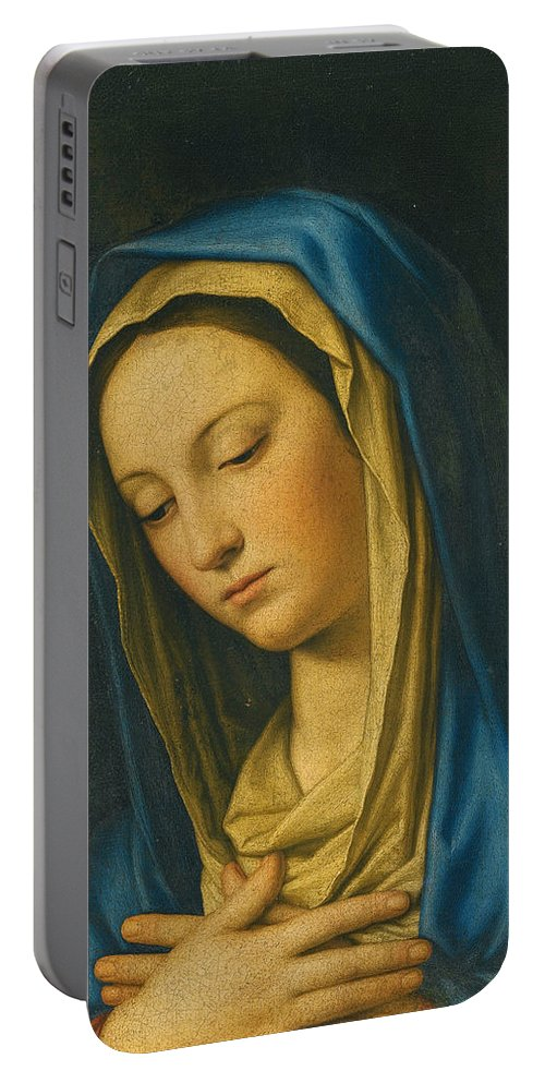 Sassoferrato Portable Battery Charger featuring the painting Madonna At Prayer by Sassoferrato