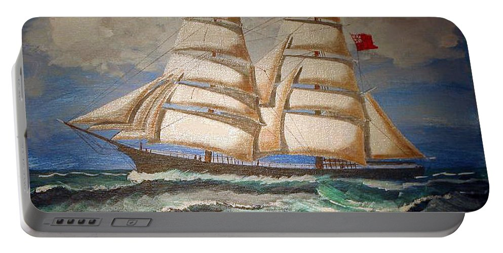 Tall Ship Portable Battery Charger featuring the painting 2 Master Tall Ship by Richard Le Page