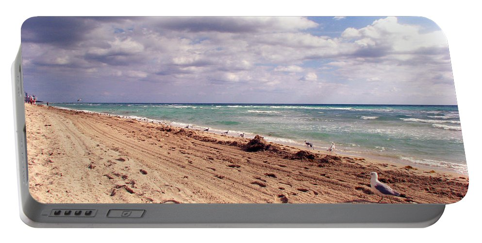 Beaches Portable Battery Charger featuring the photograph Miami Beach by Amanda Barcon
