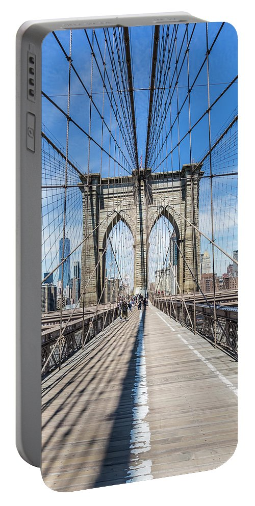 New York City Portable Battery Charger featuring the photograph New York City Brooklyn Bridge by Melanie Viola