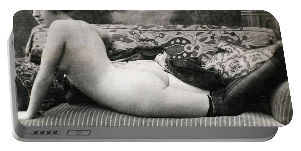 1900 Portable Battery Charger featuring the painting Nude Posing, C1900 by Granger