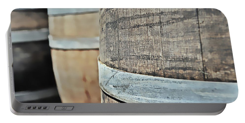 Ancient Portable Battery Charger featuring the photograph Oak Wine Barrel by Brandon Bourdages