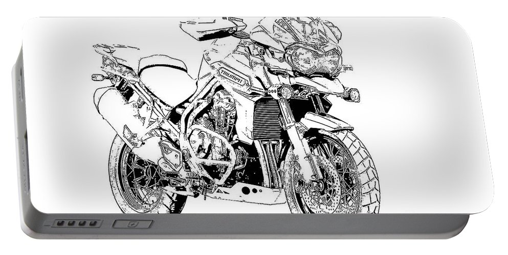 Moto Portable Battery Charger featuring the drawing Original Motorcycle Portrait, Gift For Biker, Black And White Art by Drawspots Illustrations