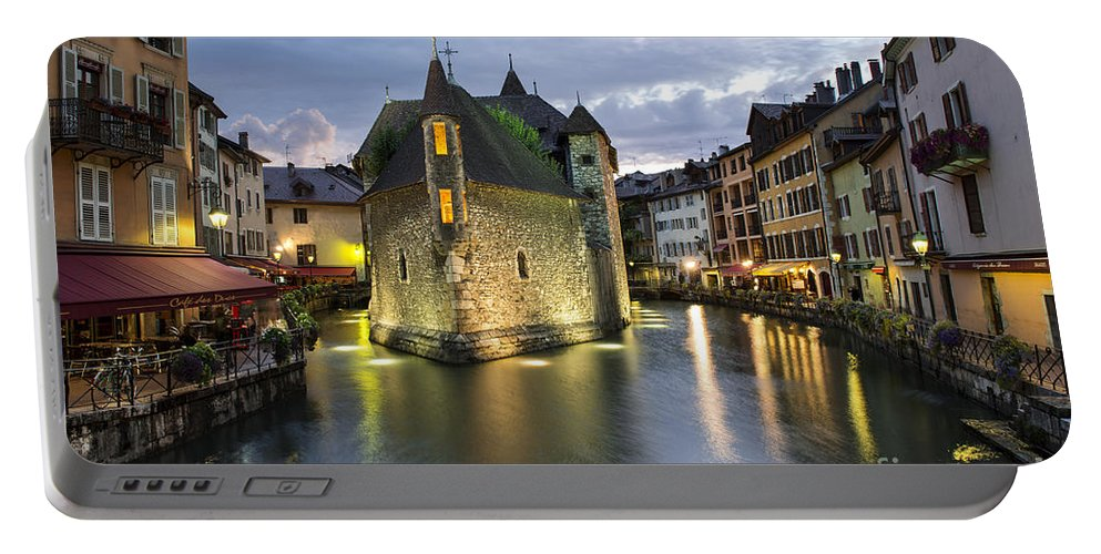 Palais De L'isle And Thiou River In Annecy Portable Battery Charger featuring the photograph Palais De L'isle And Thiou River In Annecy by Yefim Bam