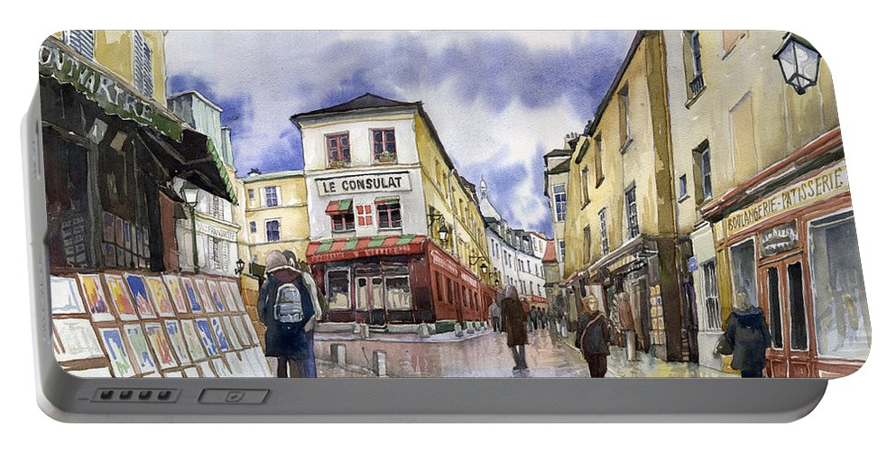 Watercolour Portable Battery Charger featuring the painting Paris Montmartre by Yuriy Shevchuk