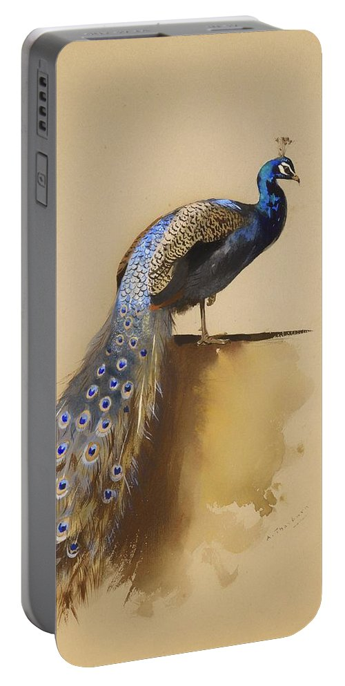 Painting Portable Battery Charger featuring the painting Peacock by Mountain Dreams