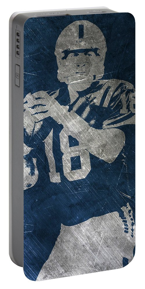 Peyton Manning Portable Battery Charger featuring the painting Peyton Manning Colts by Joe Hamilton