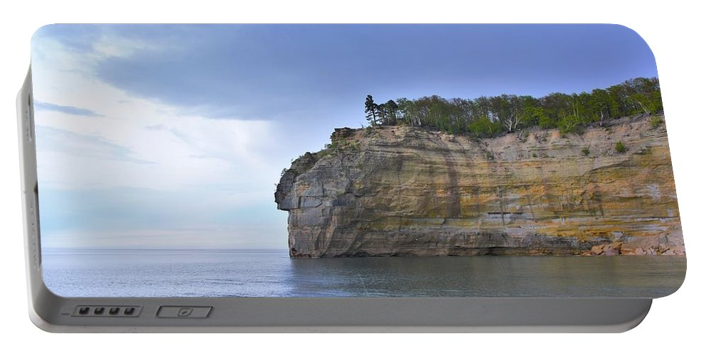 Endless Memories Photography Portable Battery Charger featuring the pyrography Pictured Rocks by Denise Cornetet