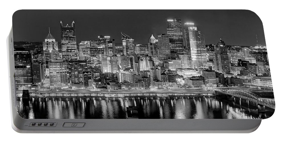 Pittsburgh Skyline At Night Portable Battery Charger featuring the photograph Pittsburgh Pennsylvania Skyline At Night Panorama by Jon Holiday