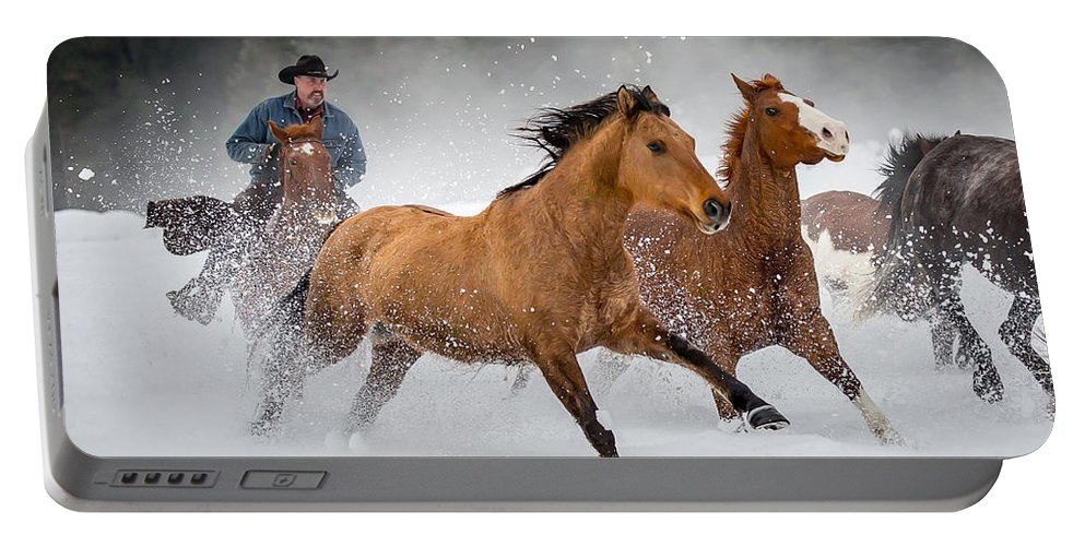 Horses Portable Battery Charger featuring the photograph Poetry In Motion by Jack Bell