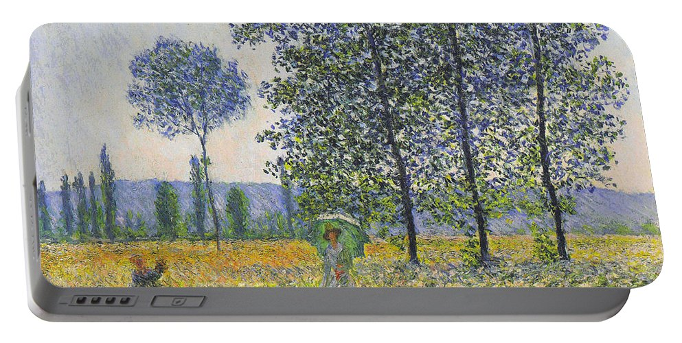 Claude Monet Portable Battery Charger featuring the painting Poplars In The Sunlight by Claude Monet