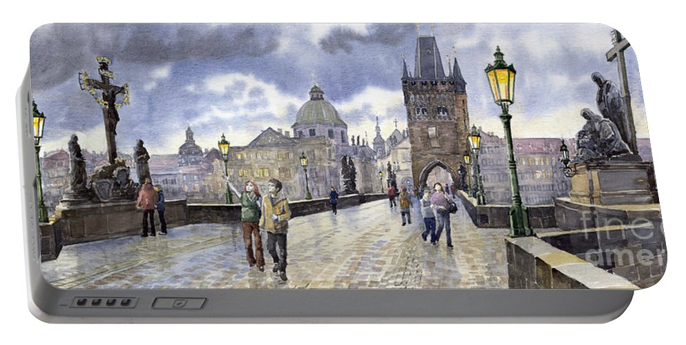 Watercolour Portable Battery Charger featuring the painting Prague Charles Bridge by Yuriy Shevchuk
