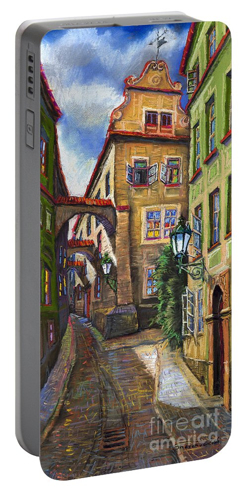 Prague Portable Battery Charger featuring the painting Prague Old Street by Yuriy Shevchuk