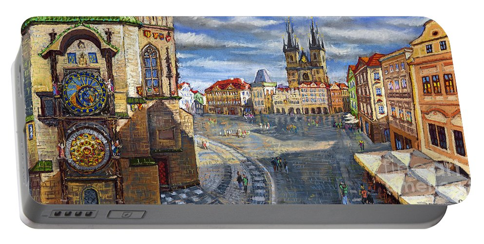 Pastel Portable Battery Charger featuring the painting Prague Old Town Squere by Yuriy Shevchuk