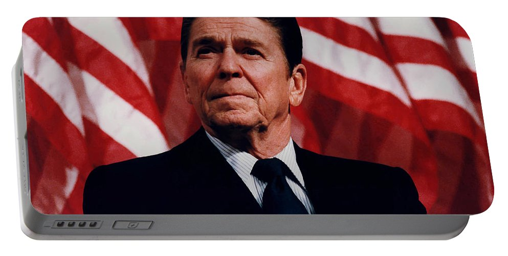 Ronald Reagan Portable Battery Charger featuring the photograph President Ronald Reagan by War Is Hell Store