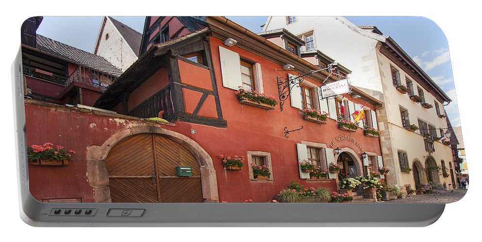 Street Scene Portable Battery Charger featuring the photograph Riquewihr France by Sally Weigand
