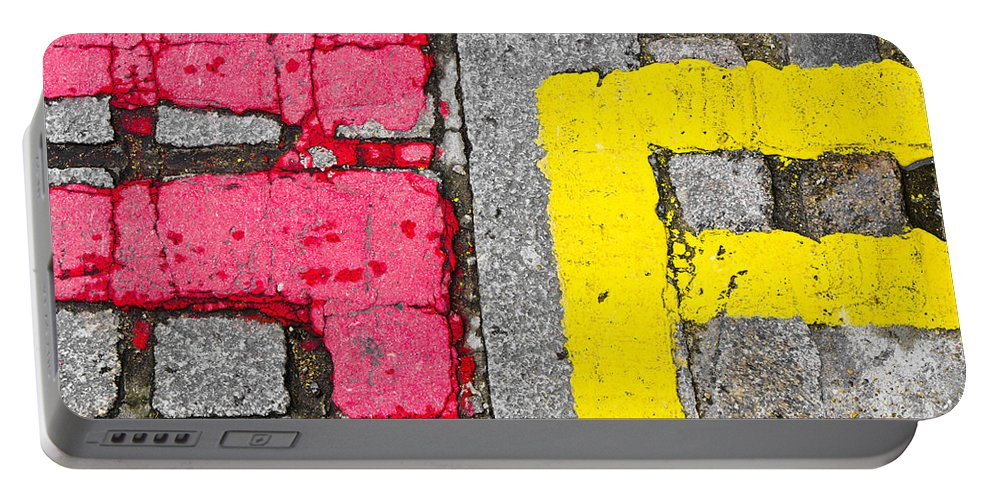 Abstract Portable Battery Charger featuring the photograph Road Markings by Tom Gowanlock
