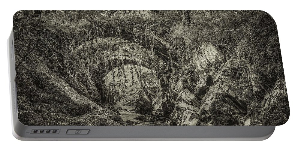 Roman Portable Battery Charger featuring the photograph Roman Bridge , Penmachno by Chris Evans