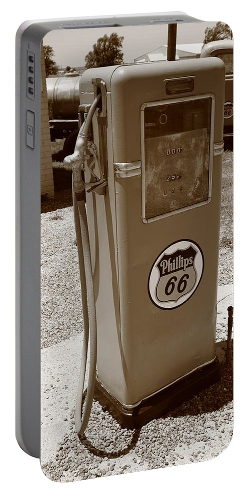 66 Portable Battery Charger featuring the photograph Route 66 Gas Pump by Frank Romeo