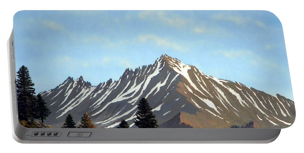 Landscape Portable Battery Charger featuring the painting Rugged Peaks by Frank Wilson