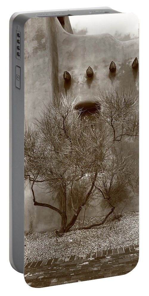 Adobe Portable Battery Charger featuring the photograph Santa Fe - Adobe Building And Tree by Frank Romeo
