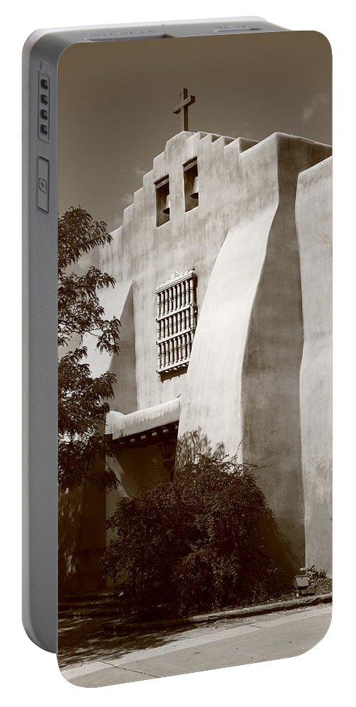 66 Portable Battery Charger featuring the photograph Santa Fe - Adobe Church by Frank Romeo