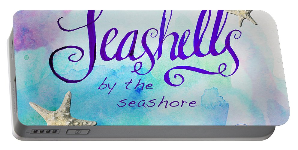 Print Portable Battery Charger featuring the painting Seashells By Jan Marvin by Jan Marvin